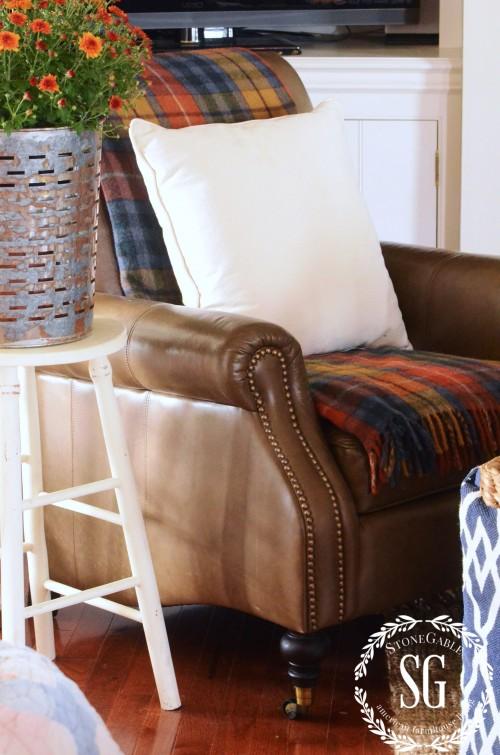 FALL HOME TOUR-chair with tartan-stonegableblog.com