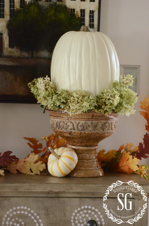 FALL HOME TOUR-chippy urn-white pumpkin-stonegableblog.com