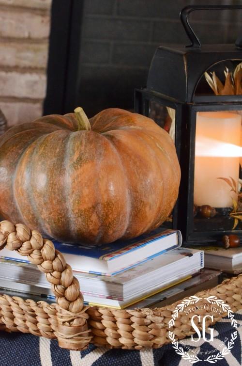 FALL HOME TOUR-cinderella pumpkin on poof-stonegableblog.com