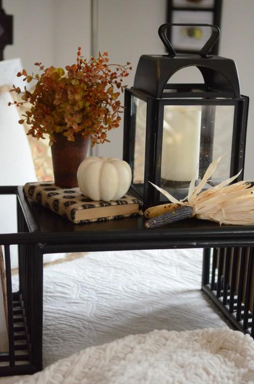 FALL IN THE GUEST BEDROOM- lantern and pumpkin-stonegableblog.com