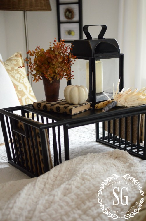 FALL IN THE GUEST BEDROOM-lantern-bed table-stonegableblog.com