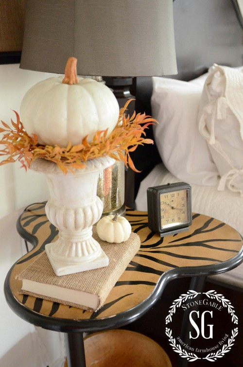 FALL IN THE GUEST BEDROOM- nightstand-pumpkin-stonegableblog.com