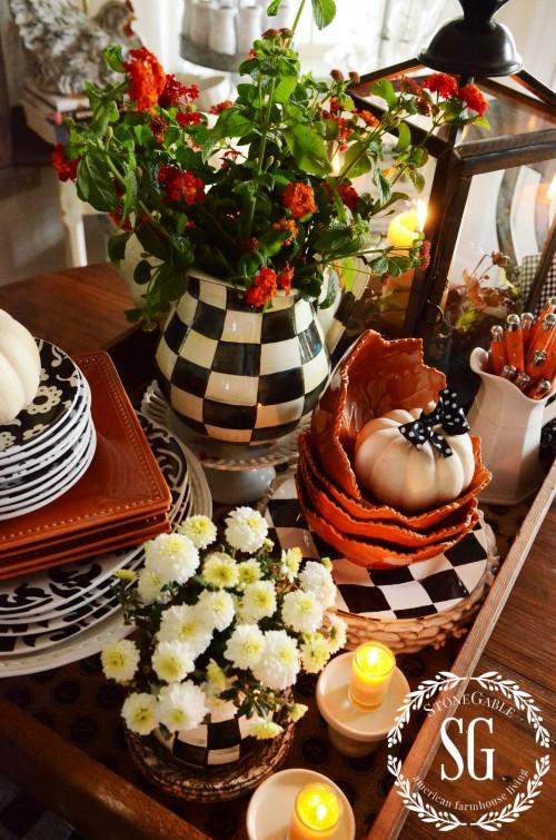FALL KITCHEN TABLE VIGNETTE-kitchen-vignette-stonegableblog.com