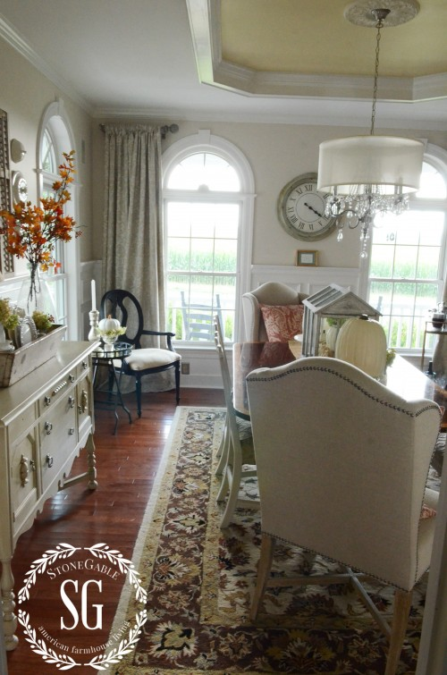 Fall-Dining Room-2 arched windows-stonegableblog.com