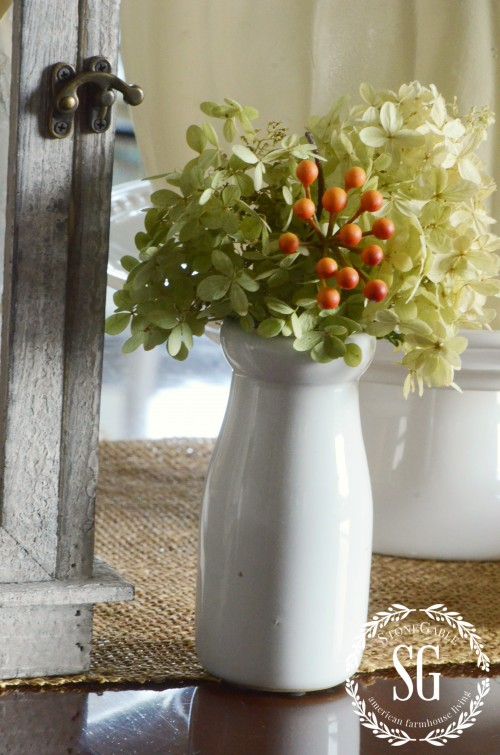 Fall-Dining Room-milk bottle with hydrangeas-stonegableblog.com