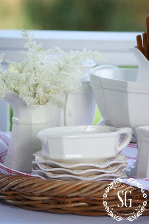 Farmhouse Style- white dishes-stonegtableblog.com
