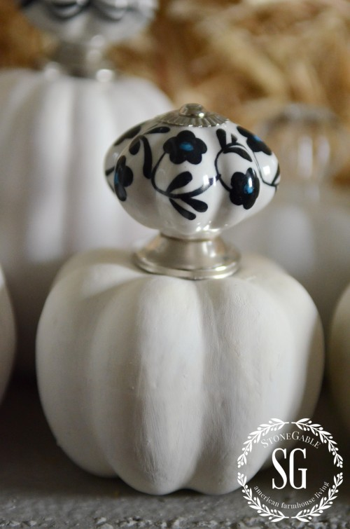 KNOB TOP PUMPKINS-white pumpkin- fancy tops-stonegableblog.com