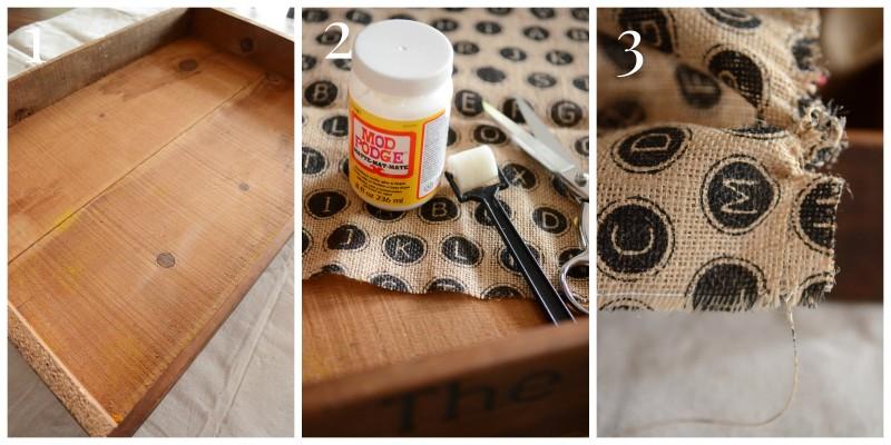No Sew burlap Bottom Tray or Crate-Instructions 1,2,3-stonegableblog