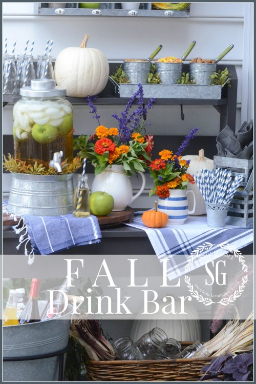 OUTDOOR FALL DRINK BAR- a fun way to serve drinks-stonegableblog.com