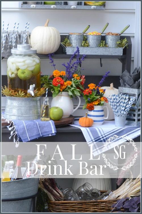 OUTDOOR FALL DRINK BAR- a fun way to serve drinks-stonegableblog.com