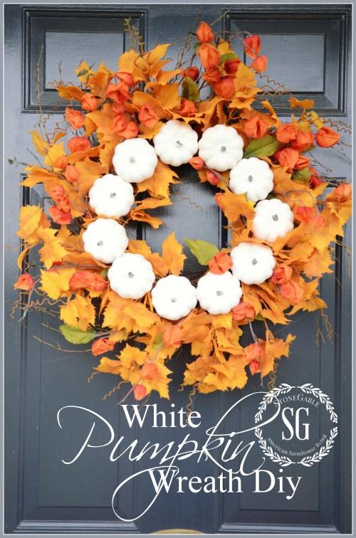 White Pumpkin Fall Wreath-front door-stonegableblog.com
