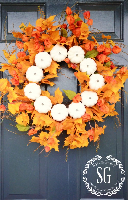 White Pumpkin Fall Wreath-on front door-stonegableblog.com