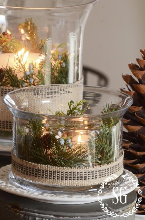 15 MINUTE CHRISTMAS DECOR- arramgement on galvanized stands-stonegableblog