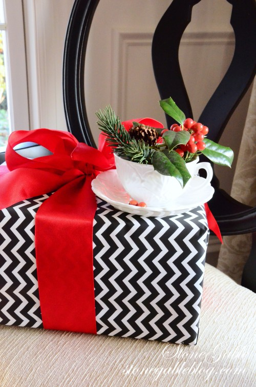 Dining Room-christmas package on chair-stonegableblog.com