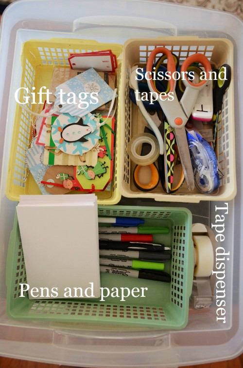 EASY CHRISTMAS GIFT WRAP STATION-4 drawer cart- top drawer-stonegableblog