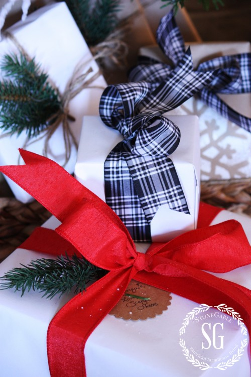 EASY CHRISTMAS GIFT WRAP STATION-wrapped gifts-stonegableblog