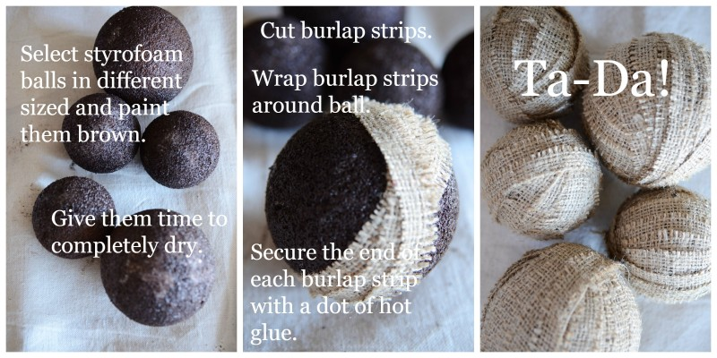 EASY PEASY NO SEW BURLAP BALLS- instructions-stonegableblog.com