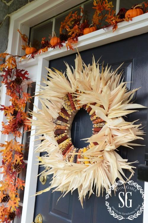 FALL FRONT PORCH-indian corn wreath-stonegableblog.com