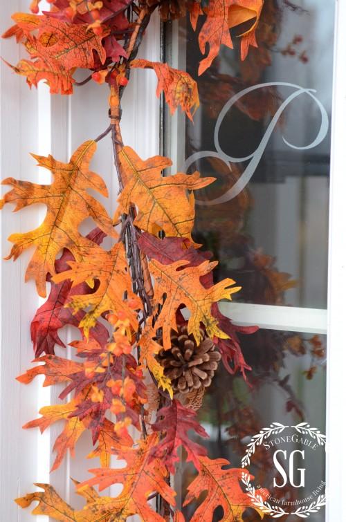 FALL FRONT PORCH-oak leaf garland-tonegableblog.com