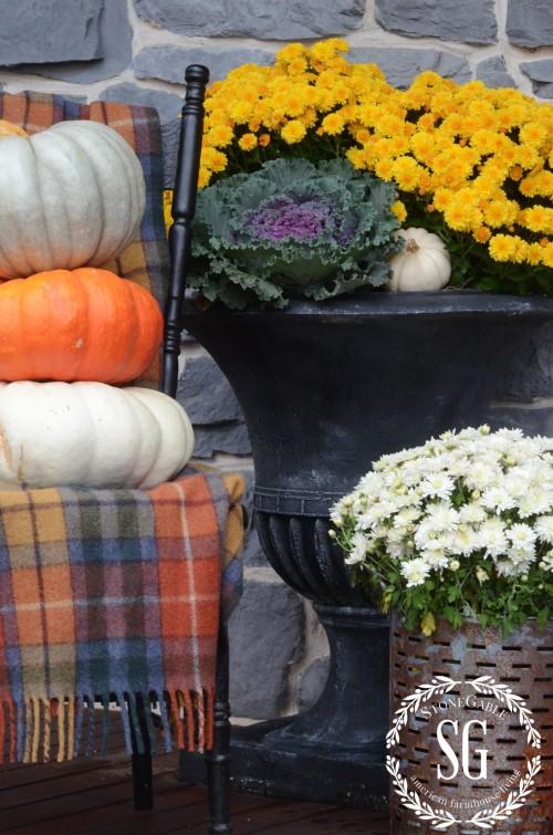 FALL FRONT PORCH-tartan-pumpkins-stonegableblog.com