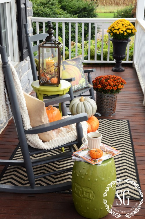FALL ROCKING CHAIR VIGNETTE-cozy area-stonegableblog.com