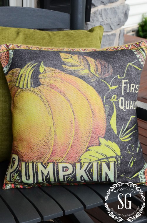 FALL ROCKING CHAIR VIGNETTE-pumpkin pillow-stonegableblog.com