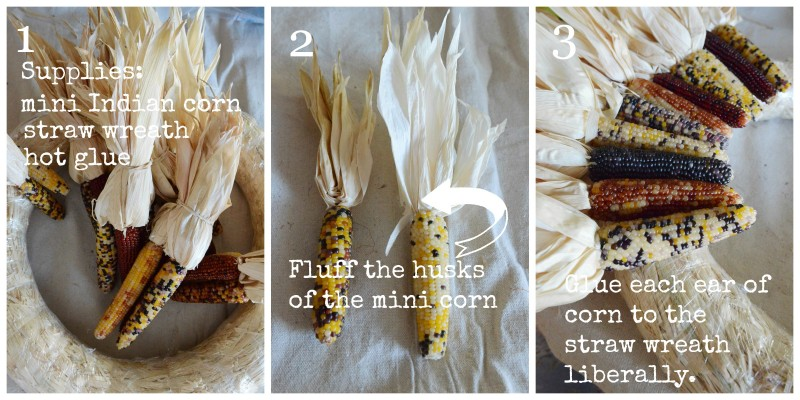 INDIAN CORN WREATH DIY- mini corn-instructions-stonegableblog.com