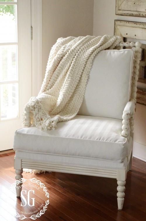 LAYERING DECOR-chair with throw-stonegableblog.com
