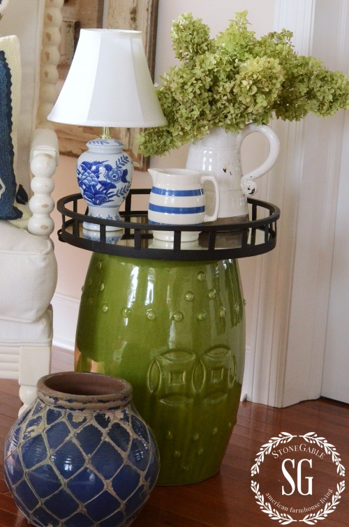 LAYERING DECOR-garden stool-small table-stonegableblog.com