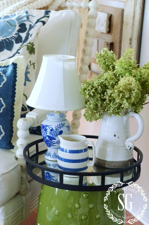 LAYERING DECOR-tray as table--stonegableblog.com