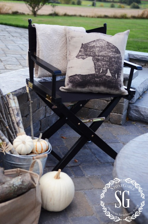S'more Bar By The Firepit-bear pillow-stonegableblog.com