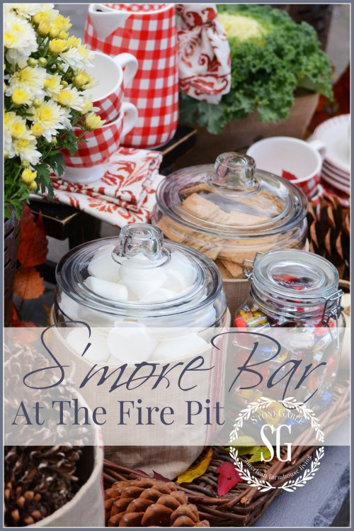 S'more Bar By The Firepit-easy entertaining and fun food-stonegableblog.com