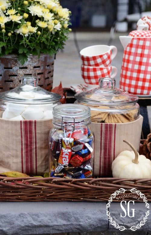 S'more Bar By The Firepit-in big jars-stonegableblog.com