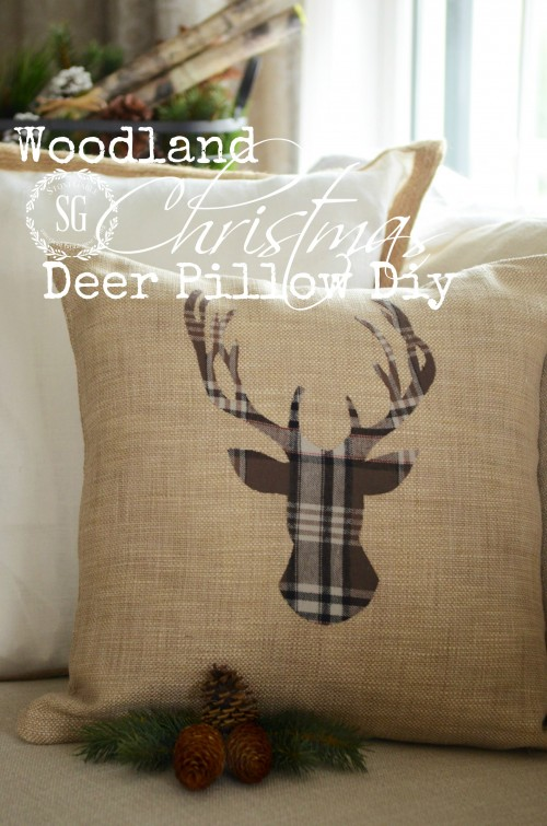 WOODLAND CHRISTMAS DEER PILLOW-1-stonegableblog.com