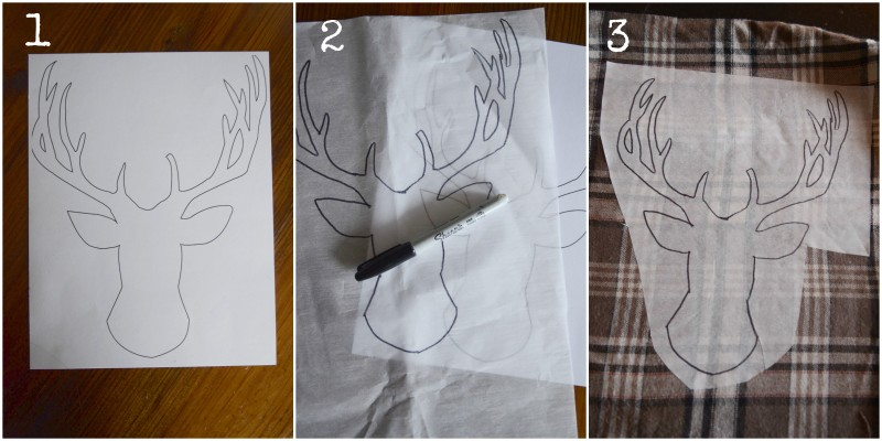 WOODLAND CHRISTMAS DEER PILLOW-Instructions 1-3stonegableblog.com