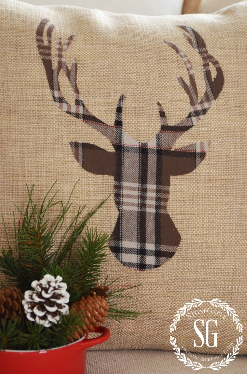 WOODLAND CHRISTMAS DEER PILLOW-deer with antlers-stonegableblog.com