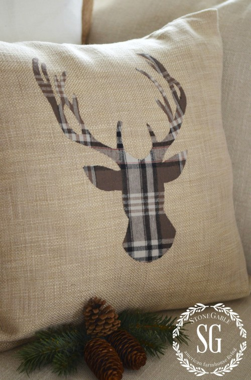 WOODLAND CHRISTMAS DEER PILLOW-flannel plaid-stonegableblog.com
