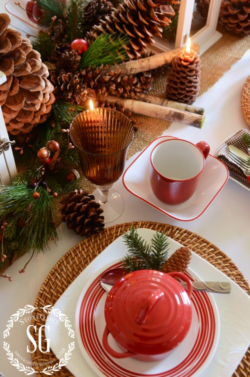 WOODLAND CHRISTMAS TABLESCAPE-greens-pinecones-stonegableblog.com