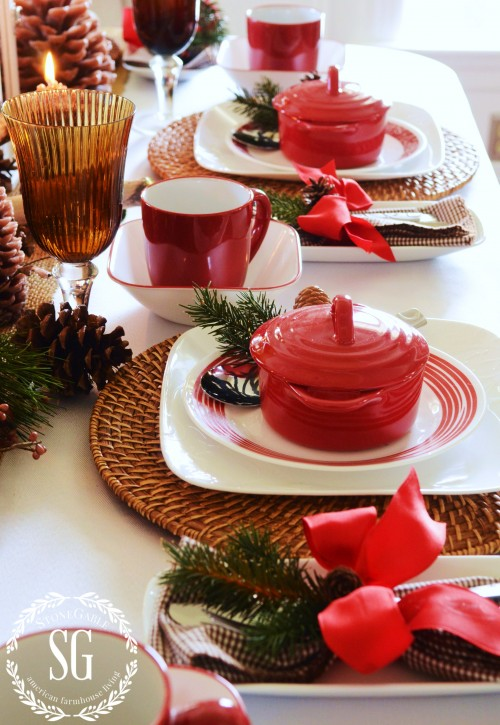 WOODLAND CHRISTMAS TABLESCAPE-place settings-stonegableblog.com