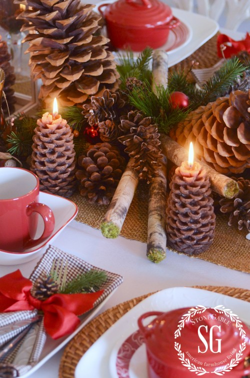 WOODLAND CHRISTMAS TABLESCAPE-runner with centerpiece-stonegableblog.com