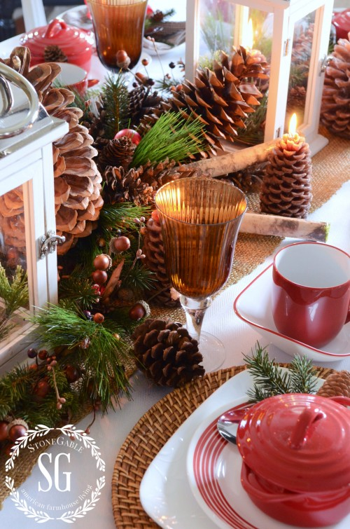 WOODLAND CHRISTMAS TABLESCAPE-stred amd white dishes-onegableblog.com