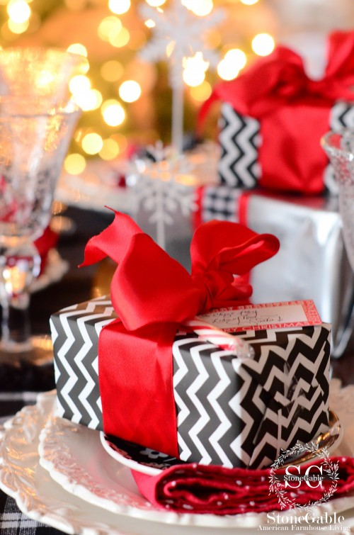 christmas table-tree lights and gifts-stonegableblog.com