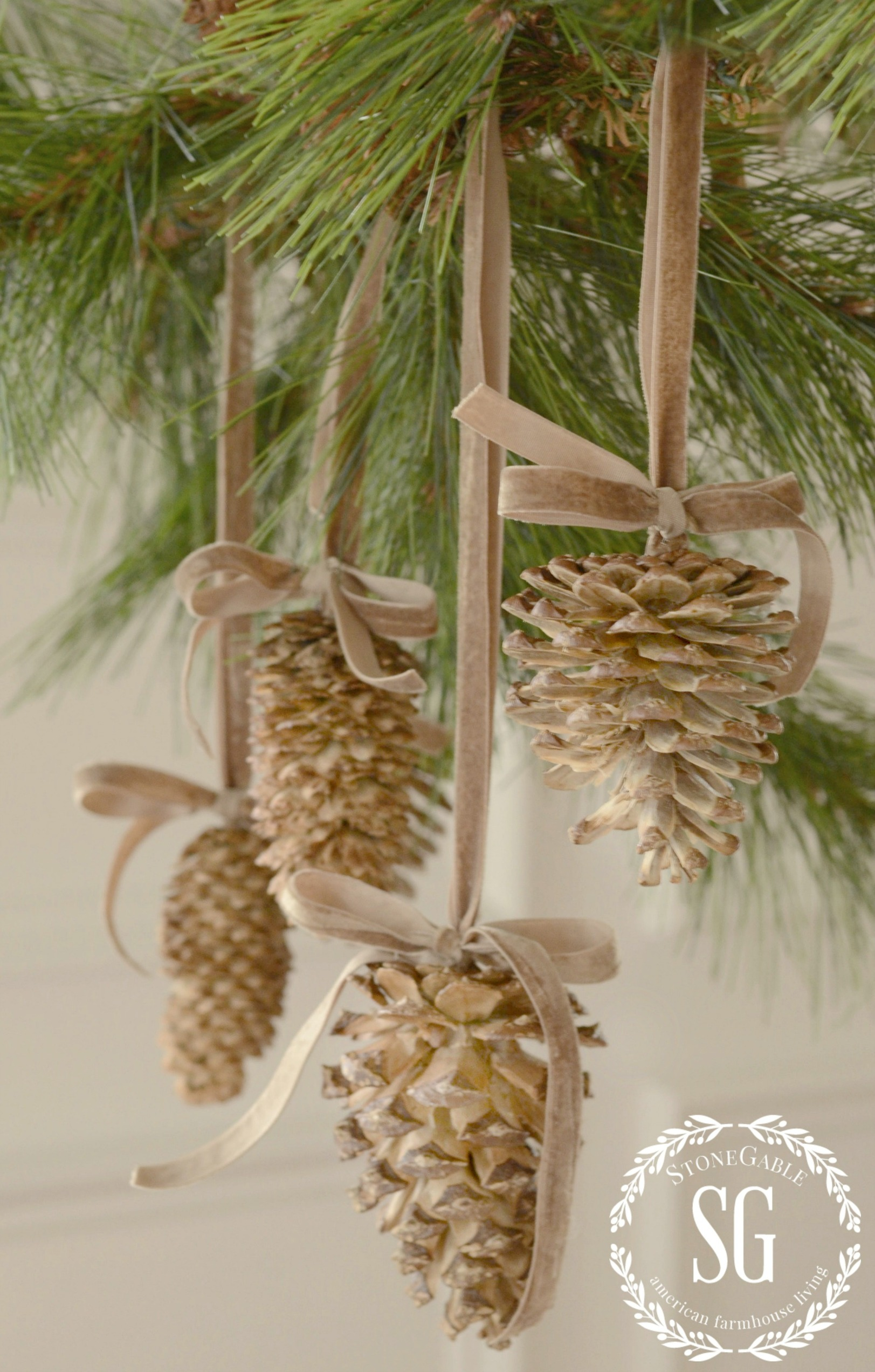 Bleached pinecones stonegable Homemade christmas decorations using pine cones