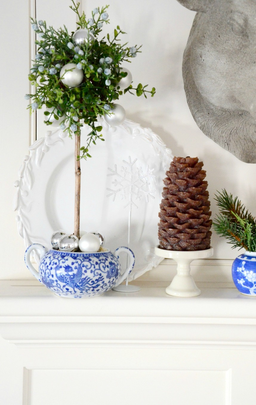 BLUE AND WHITE CHRISTMAS TOPIARY-stonegableblog