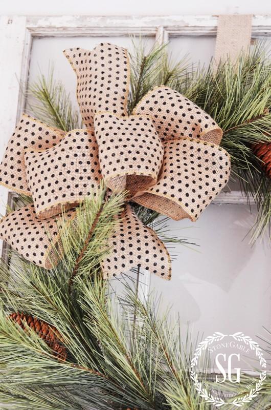CHRISTMAS MANTEL-burlap bow-stonegableblog.com - Copy