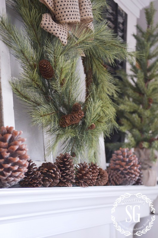 CHRISTMAS MANTEL-pinecones in a row-stonegableblog.com - Copy