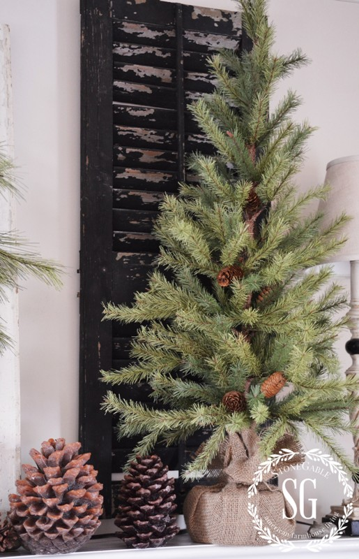 CHRISTMAS MANTEL-tall pine tree-chippy shutters-stonegableblog.com - Copy