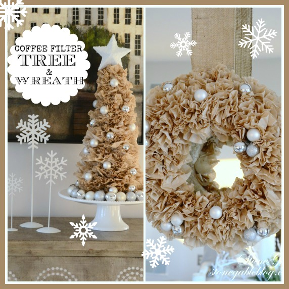 COFFEE FILTER TREE AND WREATH-stonegableblog.com