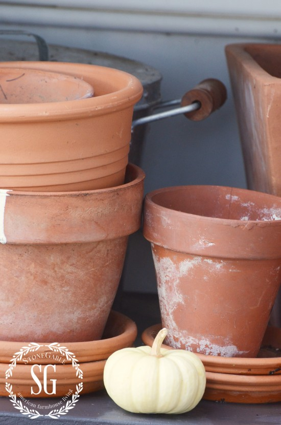 FALL AT THE POTTING BENCH-old terracotta pots-stonegableblog.com