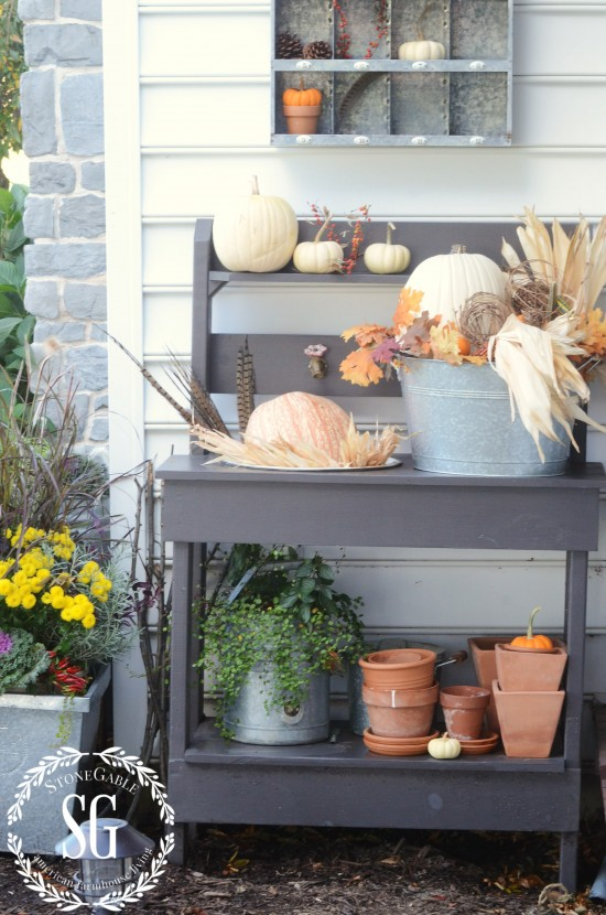 FALL AT THE POTTING BENCH-potting bench with pumpkins-stonegableblog.com